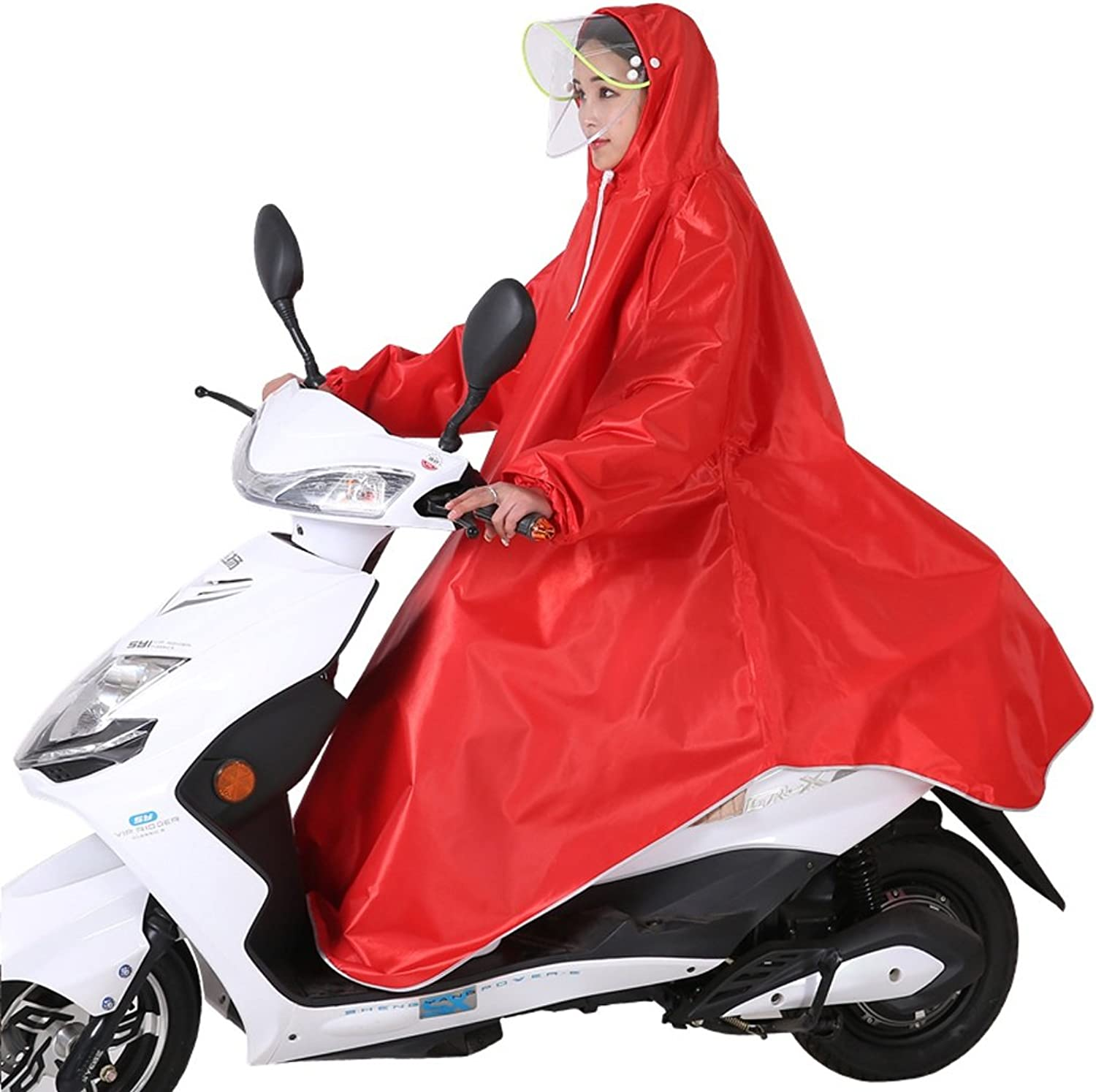 Electric Raincoat Sleeved Single Bicycle Poncho Hooded (color   RED, Size   XXXL)