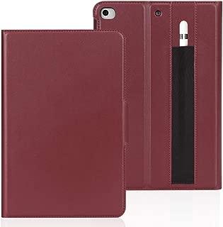 FYY iPad Mini 5 2019/iPad Mini 4 2015 Luxury Cowhide Genuine Leather Handcrafted Case, Flip Folio Smart Protective Cover with [Apple Pencil Holder] and [Auto Sleep/Wake] Wine Red