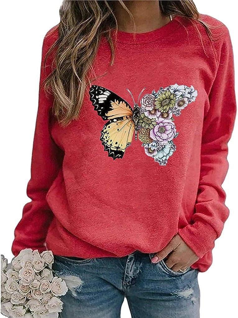 POLLYANNA KEONG Long Sleeve Blouses for Women,Women's Long Sleeve Shirt Vintage Graphic Sweatshirt Elegant Blouses