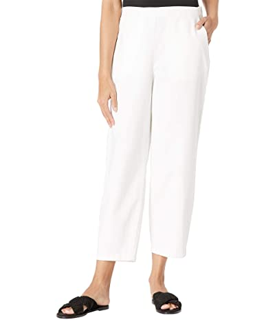 Eileen Fisher Organic Cotton Hemp Stretch Ankle Lantern Pants (White) Women