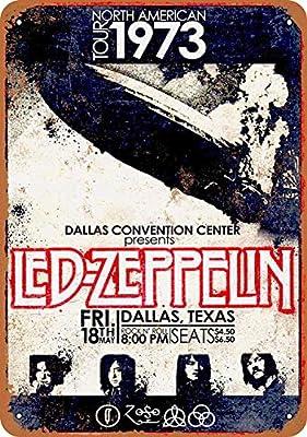 Fsdva 8 x 12 Metal Sign - Led Zeppelin in Dallas - Retro Tin Art Decor Wall Decor