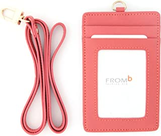 Leather Slim Credit Card Holder Id Card Case Holder Useful Purse with Neck Strap (Indi Pink)