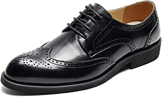XueQing Pan Burnished Style Oxfords for Men Dress Shoes Lace up Microfiber Leather Pointed Toe Height Increase Brogue Carving Low Top Stitched (Color : Black, Size : 6.5 UK)