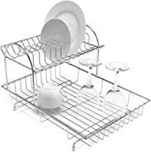 INDIAN DECOR Stainless Steel 2-Tier Dish Draining Rack, Silver