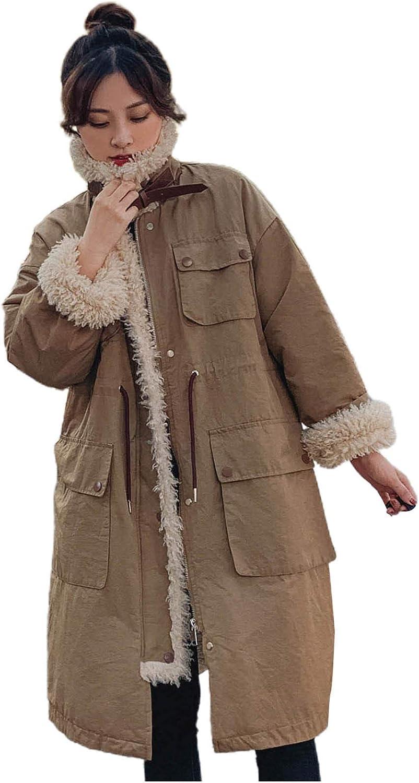 Giulot Women's Lapel Sherpa Fleece Lined Parka Jacket Ski/Snowboard Winter Jackets Warm Thicken Overcoat Outwear Long Coats
