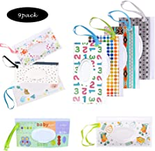 Wet Wipe Pouch, 9 Pack Baby Wipe Holder Travel Cases, Reusable Eco-Friendly Pouches to Keep Wipes Moist