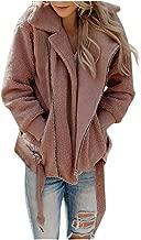 Shybuy Womens Lapel Zip Up Faux Fur Shearling Fuzzy Fleece Jacket Teddy Bear Coat Warm Outwear with Pockets