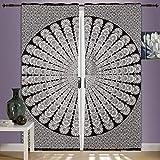 Juego de cortinas con diseño de mandala de pavo real y mandala, 2 unidades de 2...