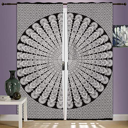 Juego de cortinas de mandala de pavo real para ventana, juego de 2 cortinas de mandala, 82 cm de largo, cortinas colgantes para puerta de ventana de mandala, cortinas hippie indias