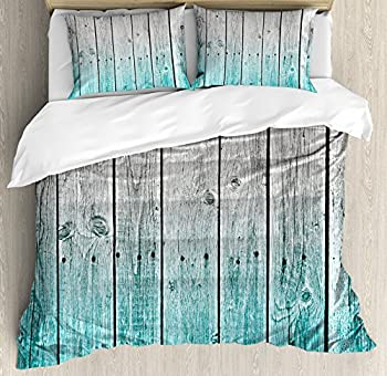 Ambesonne Rustic Duvet Cover Set Wood Panels Background Digital Tones Effect Country House Art Image Decorative 3 Piece Bedding Set with 2 Pillow Shams Queen Size Teal Grey