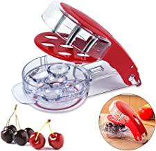 VIPOKO Cherry Pitter-6 Cherry, Cherry Pitter Tool Stainless Steel Multifunctional Cherry Stone Removal Tool Olive Tool Machine, Red