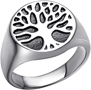 SINLEO Men's Stainless Steel Vintage Tree of Life Signet Ring Silver Gold Tone High Polished