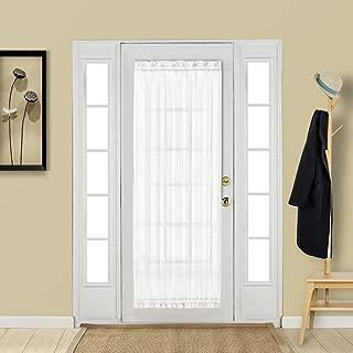Aquazolax White French Door Curtain Panel Elegant Soild Voile Panels Rod Pocket Sheer Curtain for Patio Door 25