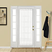 Aquazolax White French Door Curtain Panel Elegant Soild Voile Panels Rod Pocket Sheer Curtain for Patio Door 25