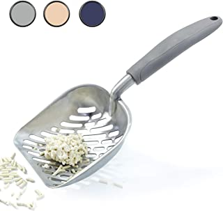 Vivaglory Cat Litter Scoop, Durable Metal Litter Scoop for Kitty, Sifter with Deep Shovel and Ergonomic Handle, Made of Heavy Duty Solid Aluminum, Jumbo Size, 1PC