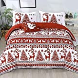Christmas Duvet Cover Set King 3 Pieces Red Deer Tree Snowflake Pattern Printed Bedding Comforter Cover with Zipper Closure for New Year Holidy,Soft Microfiber Set King Size 90'x 103'