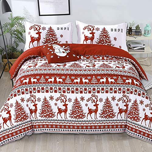 """Christmas Duvet Cover Set King 3 Pieces Red Deer Tree Snowflake Pattern Printed Bedding Comforter Cover with Zipper Closure for New Year Holidy,Soft Microfiber Set King Size 90""""x 103"""""""