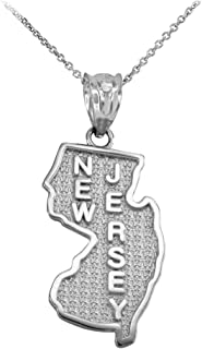 New Jersey State NJ Map Pendant Necklace in 10k White Gold