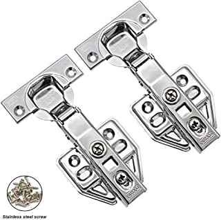 2 pcs 304 Stainless Steel Full Overlay Soft Close Cabinet Hinges - 100 Degree Door Hinges with Hinge Cover Plates, Screws are Included…