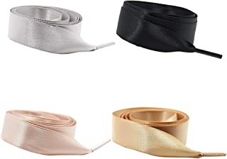 Daimay 4 Pair Silk Ribbon Shoelaces Fashion Sneakers Shoe Laces Flat Shoestring Lace Satin Ribbon for DIY Shoes Decoration - Black Light Gray Turmeric Coral Pink - 1.2M