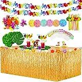 Yojoloin 132 Pièces Hawaïenne Luau Table Jupe Set de Décoration,Feuilles de Palmier,Fleurs hawaïennes,Guirlandes de Luau Bannières,Pailles de Fruits 3D pour Beach Summer et fête à thème hawaïenne.