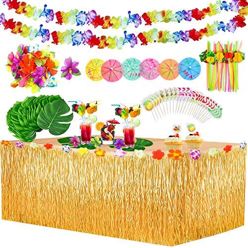 Yojoloin 132 Pcs Hawaiano Luau Falda de mesa Set de decoración,de fiesta tropical de 9.6FT con hojas de palma Flores hawaianas Paraguas y pajitas de Fruta decoraciones de mesa de fiesta Tiki de verano