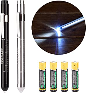 Pen Light, RISEMART Nurse Led Medical Penlight with Pupil Gauge for Nursing Students Doctors White Light with Batteries(Black&Silver)