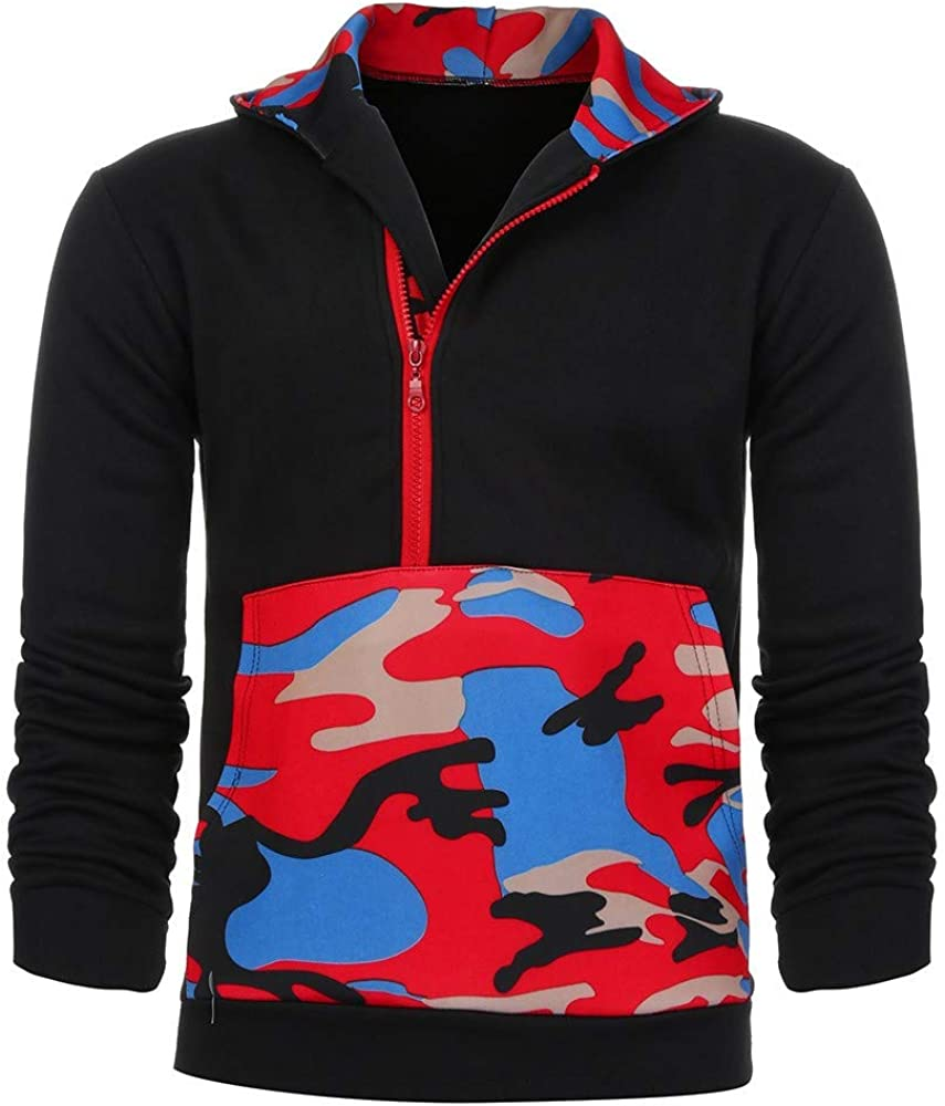 Misaky Hoodies for Men Autumn Sports Patchwork Camouflage Pocket Zipper Long Sleeve Hooded Pullover Sweatshirt