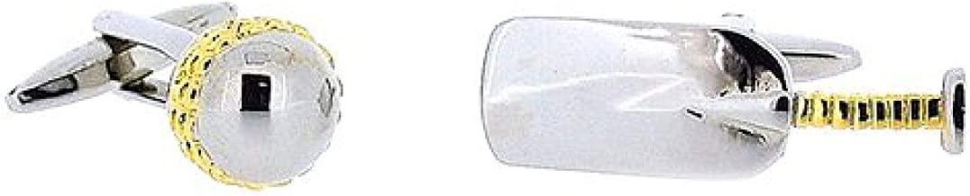 Artamis Rhodium Plated Cricket Bat & Ball Cufflinks in Presentation Box
