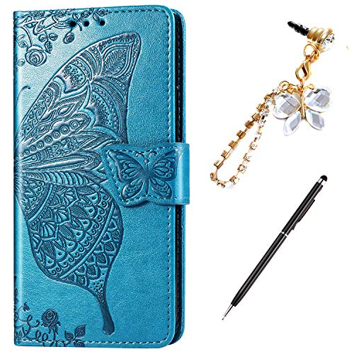 Case for iPhone 8 Plus/7 Plus Cover,Embossing Mandala Butterfly Rose Vine Flip Folio Wallet Case PU Leather Stand Card Slots Case Cover + Dust Plug Stylus for iPhone 8 Plus/7 Plus Wallet Case,Blue