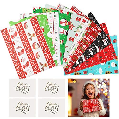 CHALA 20 Pezzi Carta da Regalo Natalizia,Biglietto d'auguri Elementi di Natale Verde Rosso Bianco Nero Blu Pupazzo di Neve Renna Pinguino Pino Slitta Babbo Natale Per Confezioni Regalo