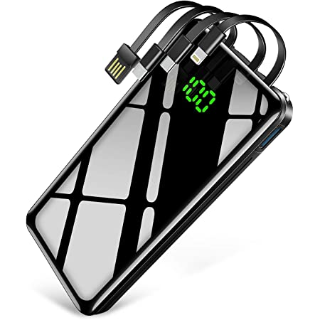 【30000mAh & ケーブル内蔵 & PSE認証済】KYOKA モバイルバッテリー 大容量 急速充電 4台同時充電 (Lightning/Micro USB/Type-C/USB入力 4種類ケーブル内蔵) 鏡面仕上げデザイン LCD残量表示 最大2.1A出力 2個LEDライト スマホ充電器 災害/旅行/アウトドア用 防災グッズ iPhone/iPad/Android各種他対応 (ブラック)