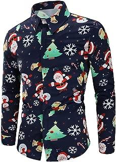 Novelty T Shirts Men Santa Candy Christmas Casual Long Sleeves Top Blouse