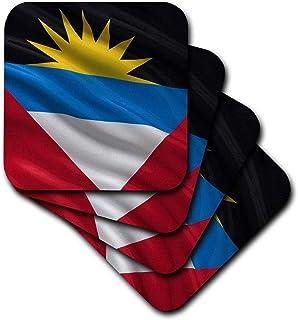 3dRose cst _ 178798_ 3bandera de Antigua y Barbuda saludando en el viento azulejos de cerámica posavasos, (juego de 4)