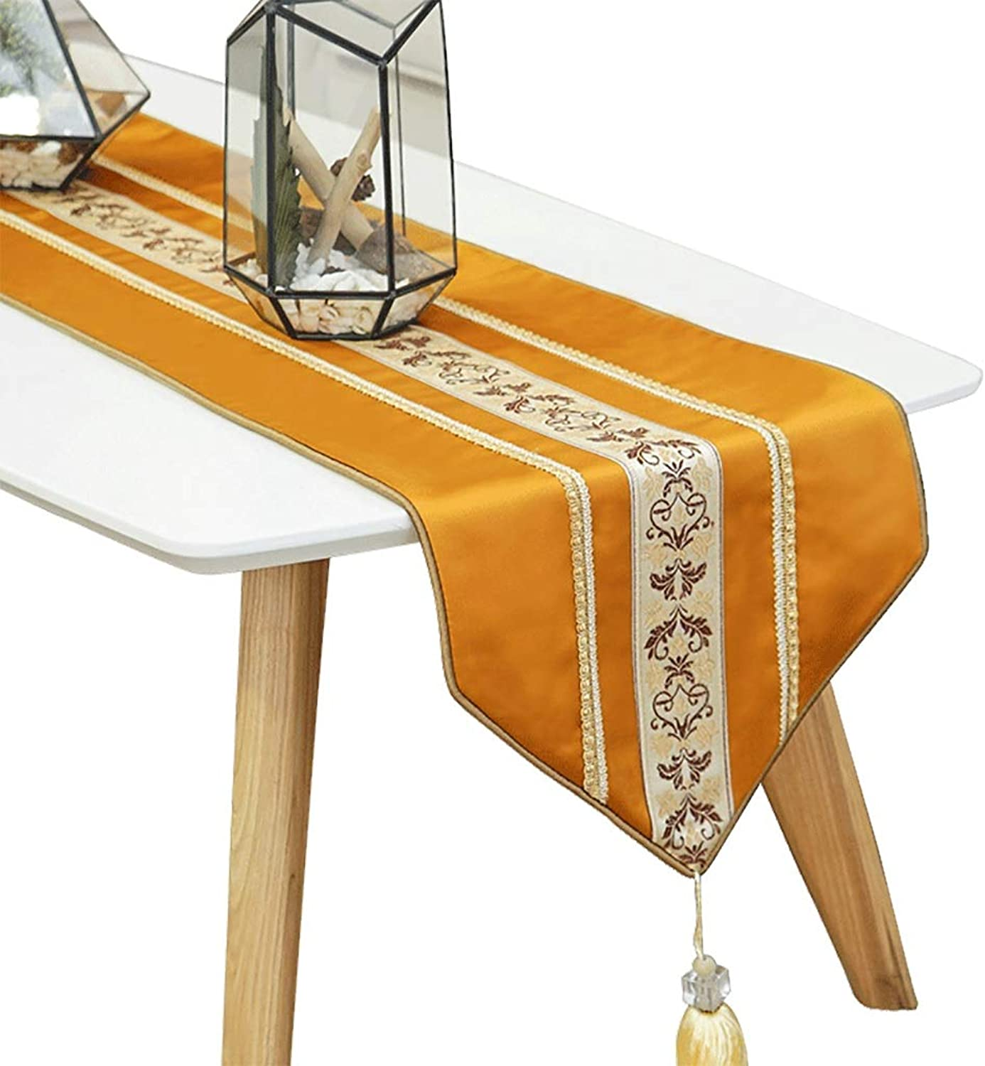 DF Yellow Table Runners for Family Dinners, Gatherings, Parties, Wedding, Everyday Use (Size   30×200cm) (Size   30×200cm)