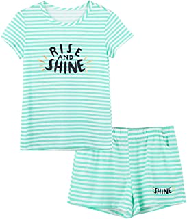 Cozchique Summer Pajamas for Girls – Stripe & Glittering Heart PJS Pal Cute Jammies Set Big KidsSize 6-16