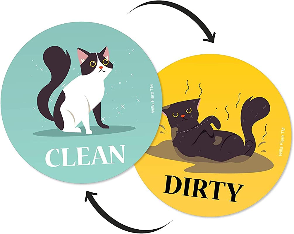 Dishwasher Magnet Clean Dirty Sign Kitchen Label For Home Organization Funny Clean Dirty Dishwasher Magnet Cat Accessories And Funny Cat Stuff Gifts Double Sided Cartoon Cat Updated 3 5 Inch