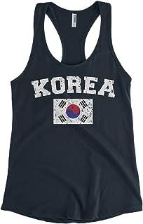 Cybertela Women's Faded Distressed Korea Flag Racerback Tank Top