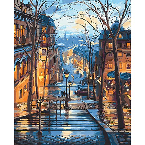 Paint by Numbers, Paint by Numbers for Adults Kids Beginner 16x20 inch Adults Paint by Numbers DIY Painting by Numbers Kits Acrylic Oil Painting Kits Easy to Draw - Paris City Light Scenery