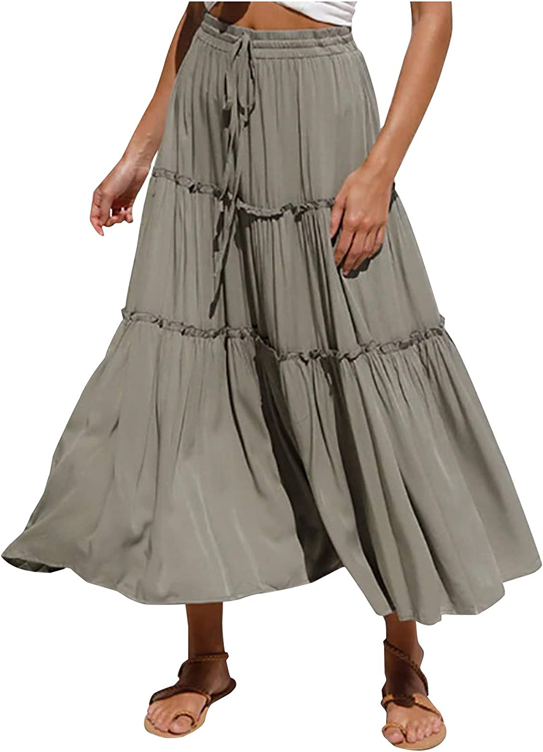Women's High Waist Casual Fashion Solid Color Simple Pleated Irregular Skirt