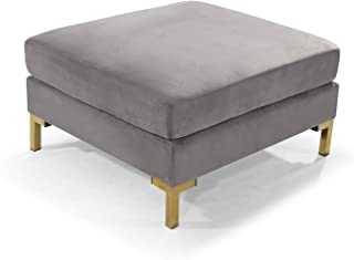 Iconic Home Girardi Modular Chaise Ottoman Coffee Table Cushion Velvet Upholstered Solid Gold Tone Metal Y-Leg Modern Contemporary, Grey