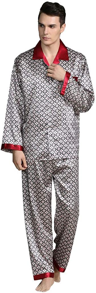 Men's Fashion Home Service Silk Pajamas Casual And Comfortable Long-Sleeve Trousers Sets Sleepwear