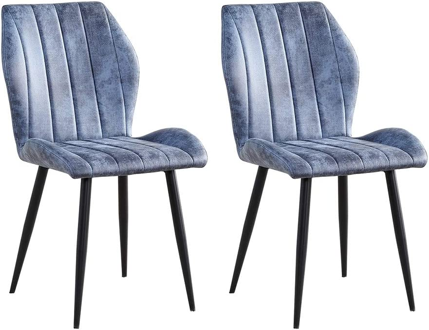 Deluxe nozama Dining Chair Set of 2 Chai Upholstered Light Blue Kitchen Low price