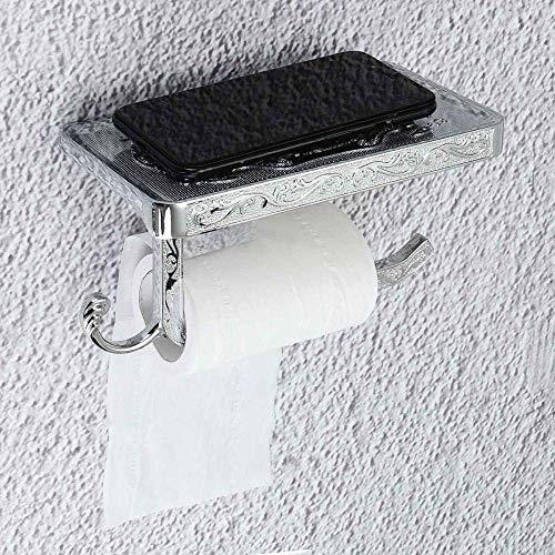 NZKW Soporte para Papel higiénico Soporte para Papel de baño Espacio Aluminio Soporte para Toallas de baño Soporte para Papel Gancho y Soporte para teléfono Soporte para WC Soporte para