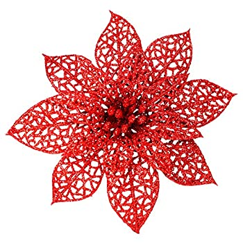 Supla 24 Pack Christmas Red Glitter Poinsettia Flowers Picks Christmas Tree Ornaments 5.9  Wide for Red Christmas Tree Wreaths Garland Holiday Seasonal Wedding Decorations White Gift Box Included