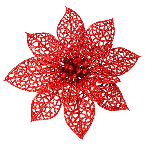 Supla 24 Pack Christmas Red Glitter Poinsettia Flowers Picks Christmas Tree Ornaments 5.9' Wide for Red Christmas Tree Wreaths Garland Holiday Seasonal Wedding Decorations White Gift Box Included