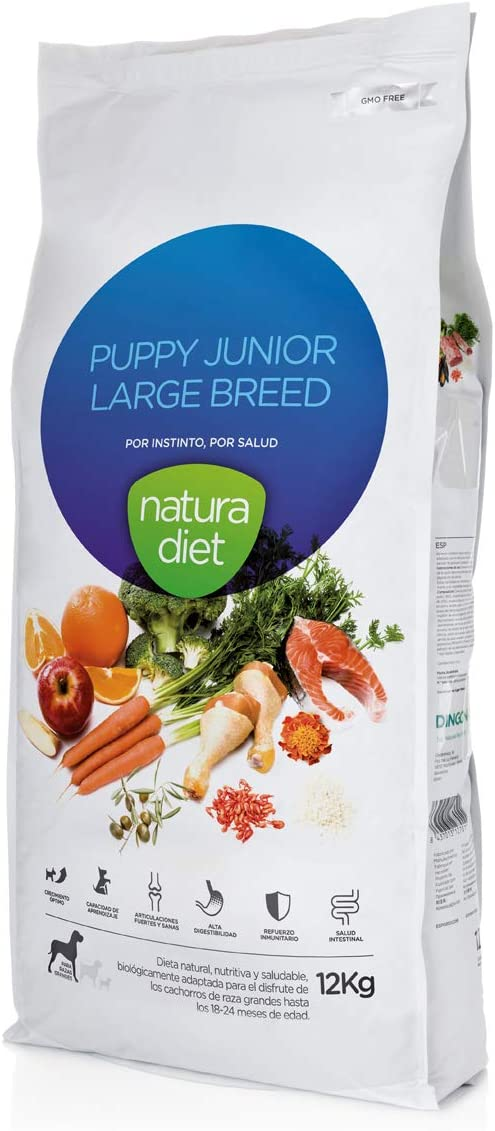 Natura Diet Puppy Junior Large Breed - Alimento seco con pollo para cachorros de rasa grandes 18-24 meses, 12 kg