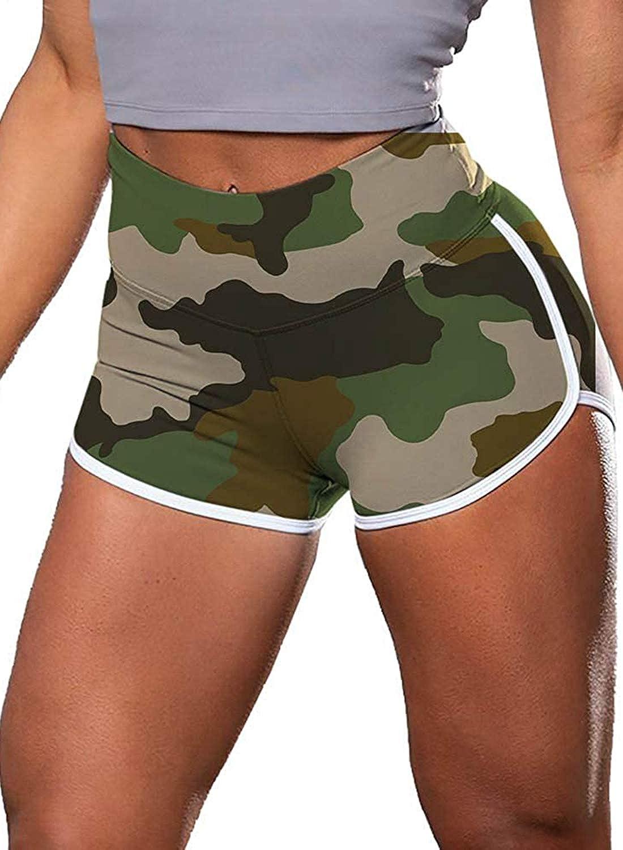 AROGONE Womens High Waist Butt Lifting Yoga Shorts Tummy Control Workout Training Shorts