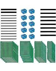 Anpro 50st printplaat kit 20st PCB Universal Board 5x7 4x6 3x7 2x8cm Dubbelzijdige geperforeerde rasterplaat geperforeerde plaat printplaat printplaat 10 schroef terminal 20 koplijst, wegwerp