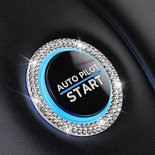 Bling Car Decor Crystal [2 Row Rhinestones] Ring Emblem Sticker,Bling Car Accessories for Women,Car Interior Decoration,Push to Start Button,Key Ignition Starter & Knob Ring(Silver)